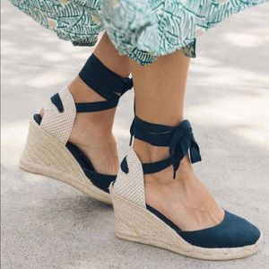 Soludos Classic Tall Wedge Midnight Blue Size 7